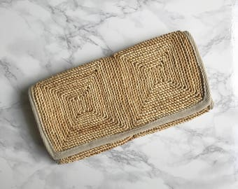 Vintage Italian Woven Straw Clutch Bag