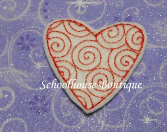 Swirl Heart felties, felt bookmark, felt paper clip, felt badge reel, key chain, hair bow center, hair accessory, feltie supplies