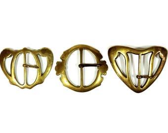 Boucles de ceinture Vintage boucle/Français Art Nouveau ceinture boucle/laiton ceinture boucles/Français en laiton ceinture boucles/Art Nouveau ceinture Vintage lot de 3
