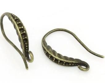 Nickel Free..10 pcs Antique bronze earring hooks, Fishhooks,brass earring hook brass ear wire,brass fishhook,antique bronze earring hook