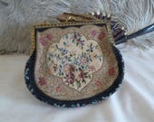 Vintage 1920s or 30s tapestry bag, embroidered art deco purse, metal frame bag with floral design to the front and back, petitt point bag