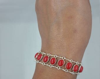 Coral & Sterling Silver Bracelet