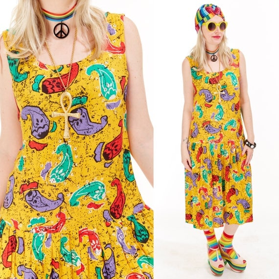 Vtg 90s NOVELTY Print Midi Dress CHILE PEPPER Hot Tamale Grunge Kitsch Boho Draped Festival Resort Wear Beach Cover Up Graphic Hippie Spicy