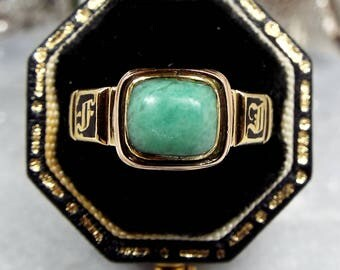 Antique Victorian 1860 18ct Gold Black Enamel Chrysoprase Mourning Ring / Size P