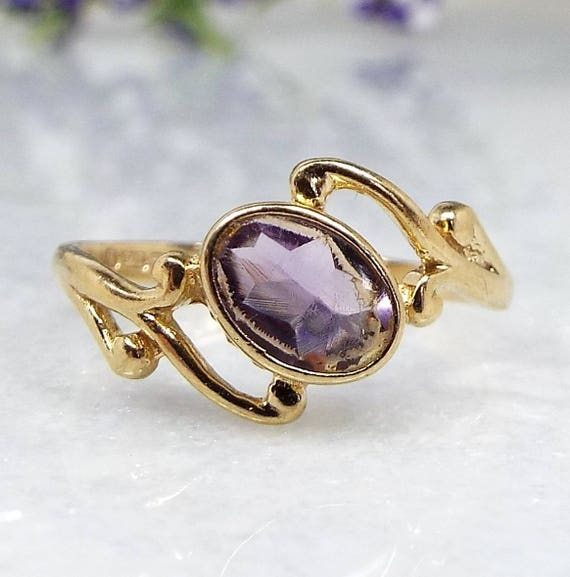 Vintage / 1987 9ct Yellow Gold Art Nouveau Style Amethyst Ring / Size I Pinkie