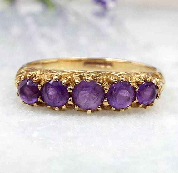 Vintage / 9ct Gold Ornate Victorian Style Amethyst Half Eternity Ring / Size N