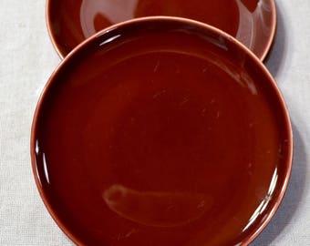 Vintage Universal Ballerina Salad Plate Set of 3 Deep Red Burgundy Union Made USA Replacement PanchosPorch