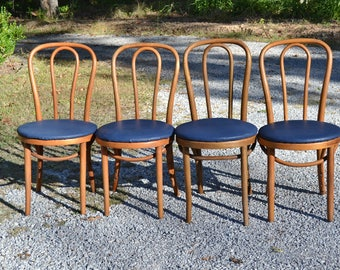 Vintage Thonet Style Bentwood Bistro Chair Set Of 4 Blue Vinyl Upholstered  Seat Cafe Seats Medium