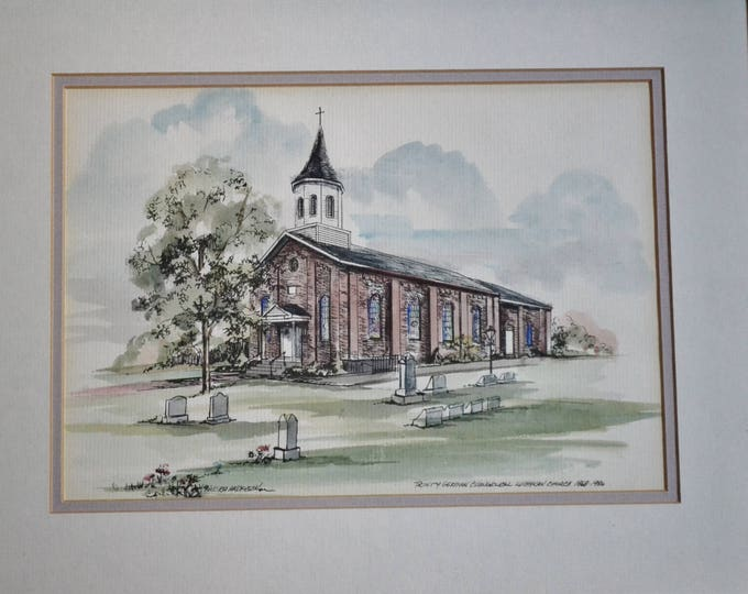 Vintage Church Watercolor Signed Framed Trinity German Evangelical Lutheran Church Anniversary Candra Anderson PanchosPorch