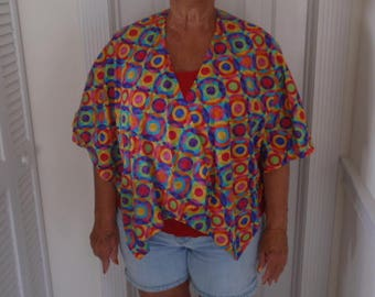 colorful cape with multi colored circles
