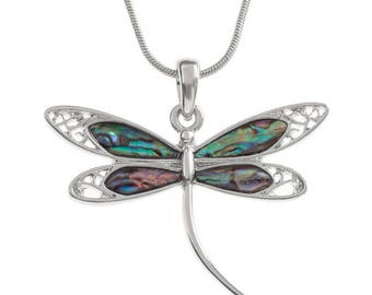 Tide Jewellery Paua Shell Dragonfly Pendant Gift Boxed