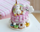 RESERVE      Miniature Unicorn cake. 1:6 scale. Polymer clay. Handmade. Dollhouse. Foods for doll