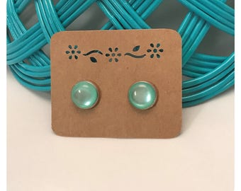 12mm Mint Green Faux Cats Eye Cabochon Stud Earrings