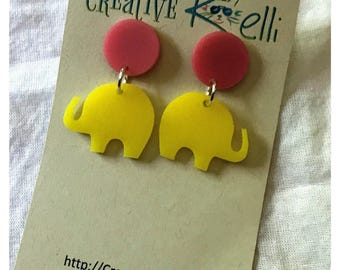 Acrylic Earrings, Elephant, Yellow, Pink