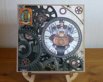 Steampunk Handmade Time Machine Mens Birthday Card
