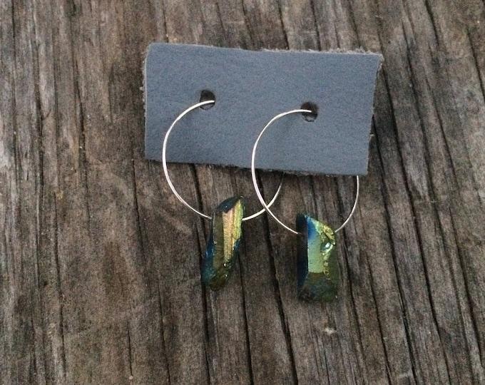 Green/Blue Hoop Earrings