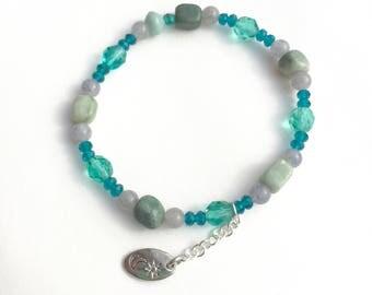 Friendship Bracelet, Large Stretch Bracelet, Ocean Colors, Boho Jewelry, Blue Green Bracelet, Beach Bracelet, Gift for Yourself