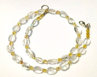 Yellow Necklace with Clear Quartz Beads and Faceted Glass Beads, Spring Colors, Birthday Gift for Her