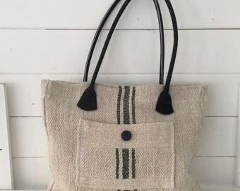 Upcycled Pocket Handbag made with Vintage Hungarian Striped Linen
