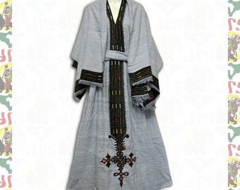 Ethiopian Traditional Hand Embroidered Dress (w-a62)