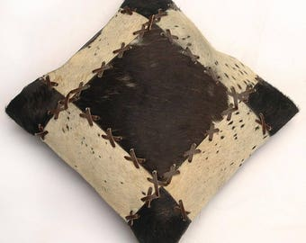Natural Cowhide Luxurious Patchwork Hairon Cushion/pillow Cover (15''x 15'')a197
