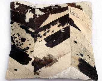 Natural Cowhide Luxurious Patchwork Hairon Cushion/pillow Cover (15''x 15'')a260