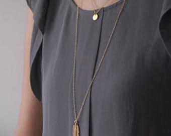 Gold Leaf Necklace Leaf pendant, Nature Necklace, Unique Necklace
