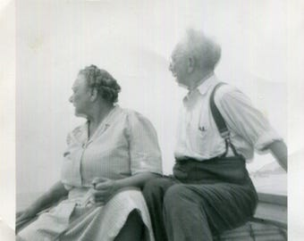 Vintage Photo of Surprised Couple on Boat Look Over Their Shoulders, 1950's Original Found Photo, Vernacular Photography