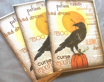 Crow Raven with Key and Pumpkin Set of FOUR Blank Note Card with original art by Cortney Rector Designs
