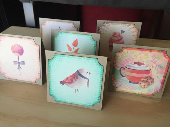 six miniature note cards cards with patterns small thank you cards
