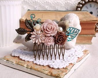Rustic hair accessory Mauve and brown flower comb Patina accent Shabby chic bridal comb
