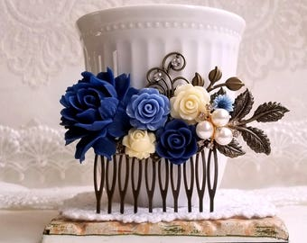 Vintage inspired hair accessory Navy blue Periwinkle blue Ivory flower Pearl hair comb Rustic bridal comb