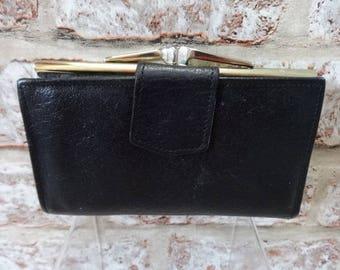 Black Vintage ladies Montana leather purse wallet