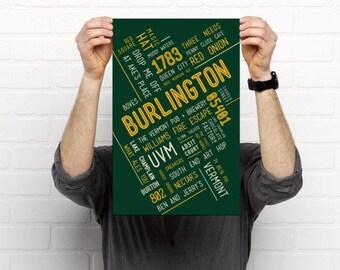 Burlington, VT // Art Print // Home Decor // Townie Poster // Gift Idea // Vermont // VT