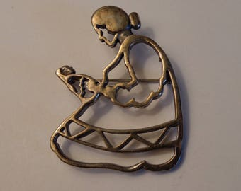 Vintage Sterling Silver Mother and Child Pin by Belinda Woody, Navajo Artist Signed