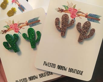 Glitter cactus earrings!