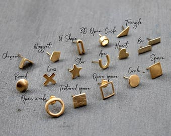 14K Gold Studs, Solid Gold stud earrings 14k, Solid Gold earrings stud, Gold earrings 18K, Delicate earring Gold Solid earrings
