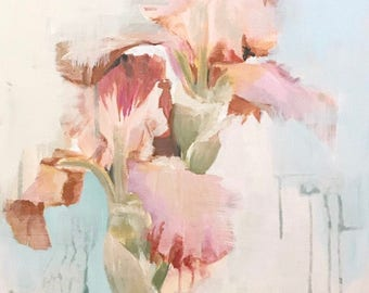 abstract pink and peach iris floral painting farmhouse art mid century flower prints