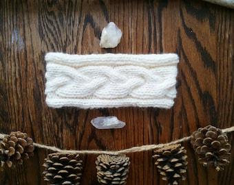 Headband / Bandeau cache-oreilles en laine motif tresse