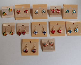 Heart Flag Earrings #100 USA Sweden Finland Norway Denmark Ireland