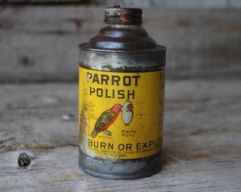 Antique Pretty Polly Parrot Polish Cone Top Advertising Tin Can