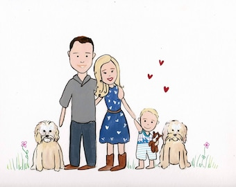 Simple Custom Cartoon Family Portrait/ Made to Order/ Wedding Portrait/ Family Illustration