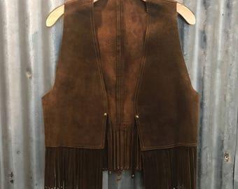 Vintage 70s Brown Leather/Suede Vest with studded fringe