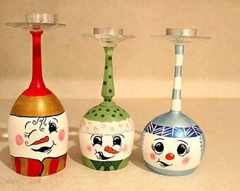 Hand Painted Snowmen Glasses/Snowman wine glasses/ Snowman candles holder