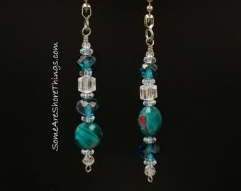 Light and Ceiling Fan Pull Set.  Teal Color Home Decor.  Housewarming Gift.