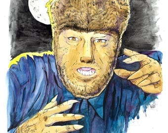 Wolf Man - watercolor and ink print