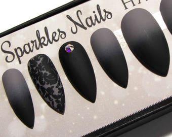 Matte Fake Nails Grey - Press On Nails Black - Gothic Faux Nails - False Nail Set - Glue on Nails with Crystals - Artificial Nails