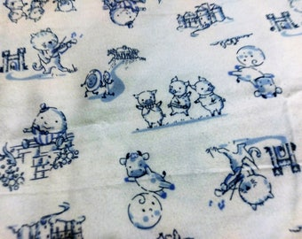 Nursery Rhyme Flannel Fabric | Boy Nursery Fabric by the Yard | Humpty Dumpty | Three little pigs |  Hey Diddle Diddle