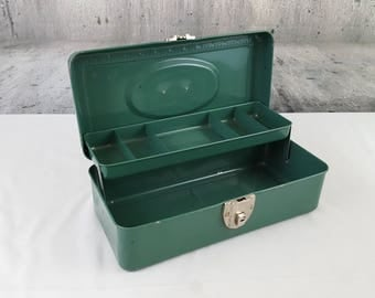 Teal Green Union Steel Tackle Box Chippy Metal Toolbox With Tray Industrial Art Supply Box American Rustic Farmhouse Storage Utility Chest