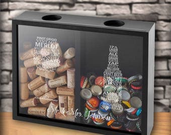 Personalized Double Sided Beer Cap Wine Cork Display Shadow Box - Personalized Wine Cork Box - Wine Gifts - Mom Gifts - Wedding - gc1658